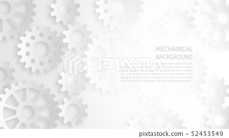 Abstract white mechanical gear background concept. 52453549