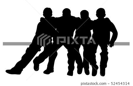 Group of best friends kids sitting huddled 52454314