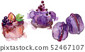 Tasty sweet desserts in a watercolor style. Background illustration set. Watercolour drawing fashion 52467107