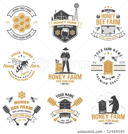 Set of Honey bee farm badge. Vector. Concept for print, stamp or tee. Vintage typography design with 52489595