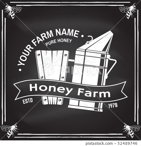 Honey bee farm badge. Vector. Concept for shirt, print, stamp or tee. Vintage typography design with 52489746