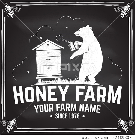 Honey bee farm badge. Vector. Concept for shirt, print, stamp or tee. Vintage typography design with 52489808
