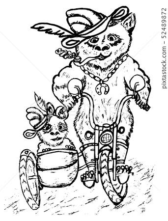Panda on Motorcycle Sketch 52489872