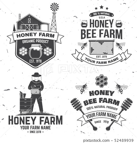 Set of Honey bee farm badge. Vector. Concept for shirt, stamp or tee. Vintage typography design with 52489939