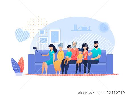 Happy Family Selfie at Home Vector Flat Cartoon 52510719