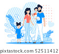 Happy Family with Kids Cartoon Flat Illustration 52511412