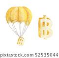 Hot air balloon with Golden Baht. Watercolor 52535044