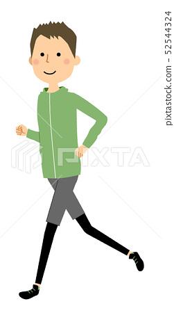 年輕男子慢跑 52544324