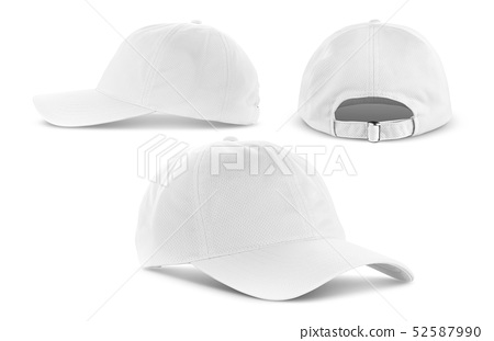 white canvas fabric cap isolated on white 52587990