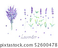 Lavender flowers, bouquet, lettering purple green 52600478