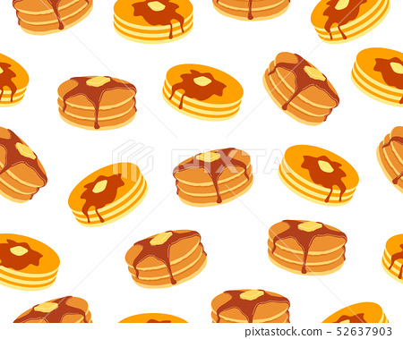 Seamless pattern of pancakes with butter  52637903