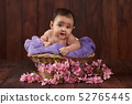 Smiling cute baby girl portrait 52765445