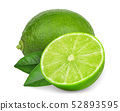 whole and half green lime with leaves isolated on 52893595