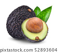 whole and half avocado with green leaves isolated 52893604