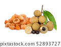fresh and dried longan with leaf isolated on white 52893727