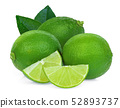 whole and slices green lime with leaves isolated 52893737