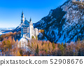 Beautiful view of world-famous Neuschwanstein Castle, the nineteenth-century Romanesque Revival 52908676