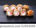 Sushi tempura maki crab meat and tobiko roll 52956085