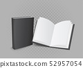 open and closed book on gray background 52957054
