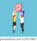 Isometric business team holding target with arrow 52957887