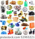 Recyclable waste collage in white background 52963221