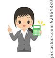 인물 여성 사업가 가리키며 포즈 계산기 52964839