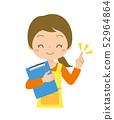 인물 여성 주부 보육사 가리키며 포즈 바인더 52964864