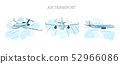Set of Planes illustrations, outline color graphic, planes from different view angles in the clouds 52966086