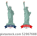 Detailed outline illustrations of a Statue of Liberty in New York City 52967688