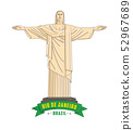 Vector illustration of Statue of Christ the Redeemer, located in Rio de Janeiro, Brazil by Marynova 52967689