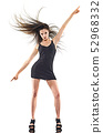 young woman disco dancer dancing isolated white background happy fun 52968332
