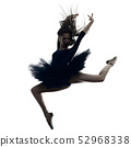 young woman ballerina ballet dancer dancing isolated white background silhouette 52968338