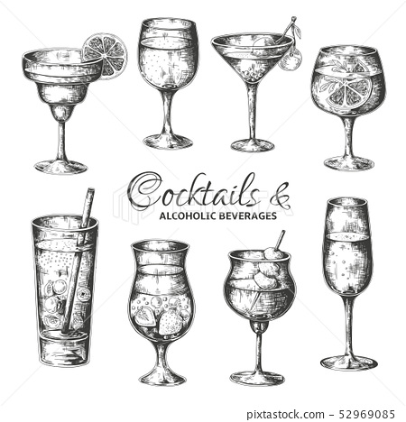 Hand drawn cocktails. Vintage glasses with liquors and alcoholic drinks, summer drinks sketch menu 52969085