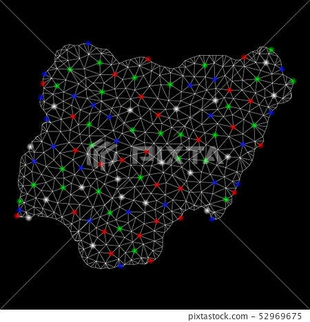 Bright Mesh Wire Frame Nigeria Map with Flare Spots 52969675