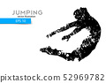 Silhouette of a jumping man. Vector illustration 52969782