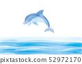 점프하는 돌고래의 일러스트, 수채화, 여름의 이미지 돌고래 점프, 벡터 데이터 52972170