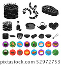 Sushi and seasoning black,flat icons in set collection for design. Seafood food, accessory vector 52972753