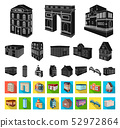 Building and architecture black,flat icons in set collection for design.The building and dwelling 52972864