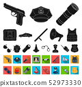 Police, Department black,flat icons in set collection for design.Detective and accessories vector 52973330