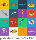 A variety of marine animals cartoon icons in set collection for design. Fish and shellfish vector 52974923