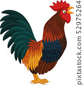 Cartoon rooster crowing on white background 52975264
