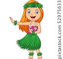 Hawaiian girl dancing hula on white background 52975633