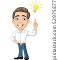 Cartoon Businessman with idea bulb 52975877