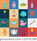 Birth of a baby cartoon icons in set collection for design. Newborn and accessories vector symbol 52976199