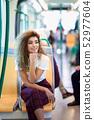 Arab woman inside metro train. Arab girl in casual 52977604