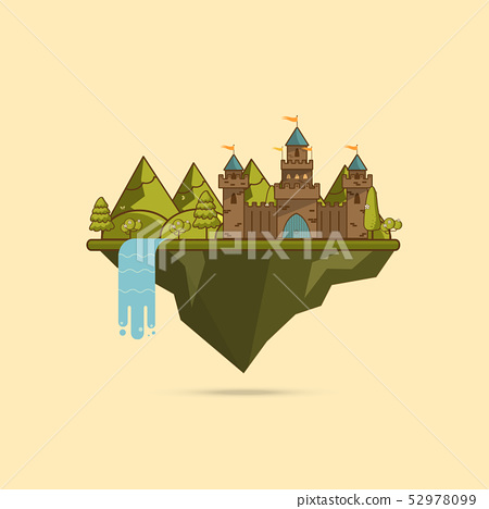 Cartoon Illustration of Tale Castle on Hill 52978099