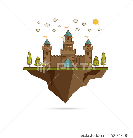 Cartoon Illustration of Tale Castle on Hill 52978100