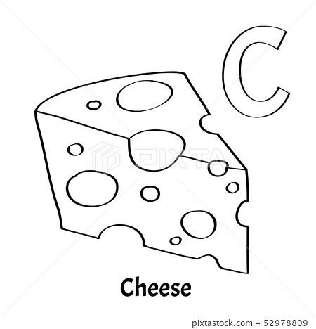 Vector Alphabet Letter C Coloring Page Cheese Stock Illustration 52978809 Pixta