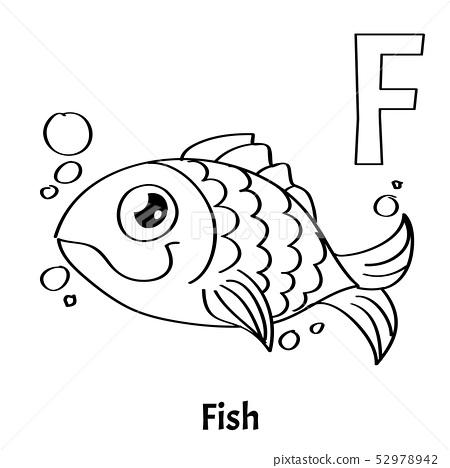 Vector Alphabet Letter F, Coloring Page. Fish. - Stock Illustration  [52978942] - PIXTA
