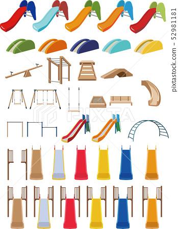 幻燈片和木製遊樂設備 52981181